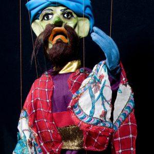 Títere Mago del espectáculo de marionetas Aladino y la lámpara maravillosa