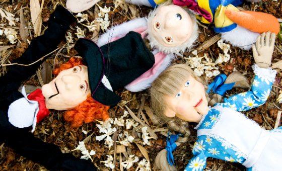 Marionetas de Alicia, Sombrerero y Señor Conejo del espectáculo de títeres