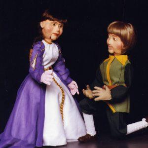 Princesa y Sastrecillo de Hilando Títeres del cuento de Grimm con marionetas